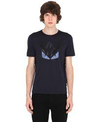 Fendi   Blue Monster Rhinestone Cotton T-shirt for Men   Lyst