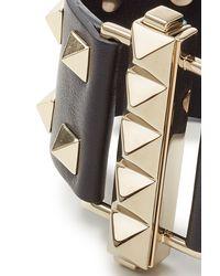 Valentino | Metallic Leather Rockstud Cuff - Black | Lyst