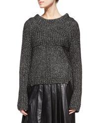 Belstaff - Black Speckled Ribbed Knit Sweater - Lyst