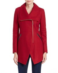 French Connection | Red Asymmetrical Zip-front Coat | Lyst