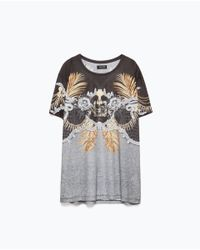 Zara | Black Printed T-shirt for Men | Lyst