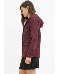 Forever 21 | Purple Hooded Plush Jacket | Lyst
