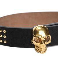 Alexander McQueen - Black Studded Leather Wrap Skull Bracelet - Lyst