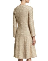 Oscar de la Renta - Metallic Long-sleeve Tweed A-line Coat - Lyst