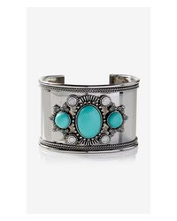 Express - Blue Embellished Southwestern Cuff Bracelet - Lyst