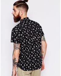 Scotch & Soda - Black Hawaiian Tree Print Cotton Shirt for Men - Lyst