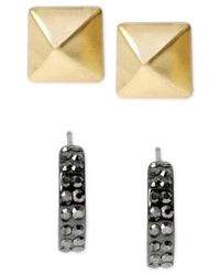 Kenneth Cole | Metallic Two-tone Geometric Stud Earring Set | Lyst