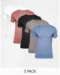 ASOS - Multicolor Extreme Muscle Fit T-shirt With Crew Neck 5 Pack Save 20% for Men - Lyst