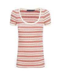 Ralph Lauren Blue Label - Red Iris Striped Knitted Tshirt - Lyst