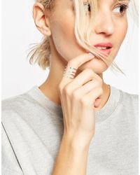 ASOS | Metallic Full Finger Open Ring With Ombre Crystals | Lyst