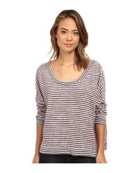 Free People | Gray Little Ann Striped Pullover | Lyst