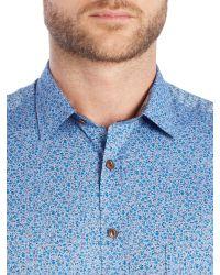 Simon Carter | Blue Printed Flower Shirt for Men | Lyst
