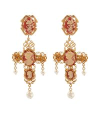 Dolce & Gabbana - Metallic Cameo Embellished Cross Clip-On Earrings - Lyst