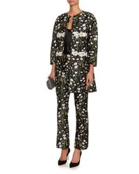 Giambattista Valli - Black Collarless Floral-Jacquard Jacket - Lyst