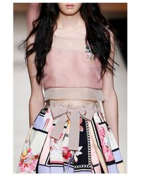 Alberta Ferretti | Multicolor Organdy Embellished Sheer Top | Lyst