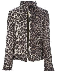Love Moschino - Gray Leopard Print Padded Jacket - Lyst