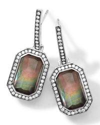 Ippolita | Metallic Sterling Silver Stella Black Shell Earrings With Diamonds | Lyst