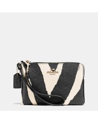 COACH Metallic Corner Zip Wristlet In Zebra Print Coated Canvas