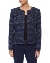 Precis Petite - Blue Tweed Embellished Jacket - Lyst