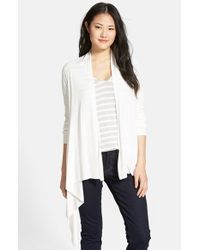 Caslon - White Cotton Blend Open Front Cardigan - Lyst