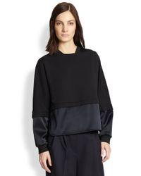 3.1 Phillip Lim Black French Terry & Satin Sweatshirt