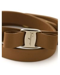 Ferragamo | Brown 'vara' Bow Wrap Around Bracelet | Lyst