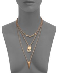 ABS By Allen Schwartz | Metallic Sunset Blvd Three-row Necklace | Lyst