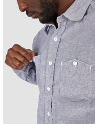 Engineered Garments Work Shirt Blue Cotton Chambray for men