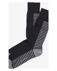 Express - Black Split Stripe Dress Socks for Men - Lyst
