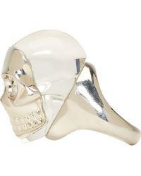 Alexander McQueen | Metallic Silver Perspex Skull Ring | Lyst