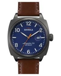 Shinola - Blue 'the Brakeman' Leather Strap Watch for Men - Lyst