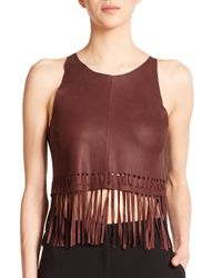 Elizabeth and James - Purple Brookline Leather Fringe Cropped Top - Lyst