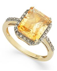 Macy's - Metallic Emerald-Cut Citrine And Diamond Ring In 10K Gold (2-5/8 Ct. T.W.) - Lyst