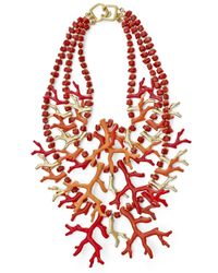 Kenneth Jay Lane | Red Three Row Coral Branch Necklace | Lyst