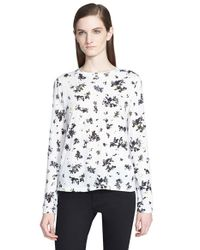 Proenza Schouler | Black Print Tissue Jersey Long Sleeve Top | Lyst