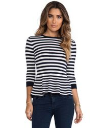 Autumn Cashmere - Blue Striped 34 Sleeve Peplum Top in Navy - Lyst