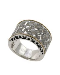 Effy | Metallic Sterling Silver 18kt Yellow Gold And Diamond Band | Lyst
