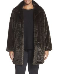 Ellen Tracy | Black Stand Collar Faux Fur Coat | Lyst