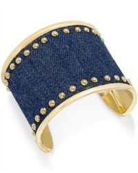 INC International Concepts | Metallic Gold-tone Denim Stud Cuff Bracelet | Lyst