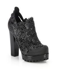 Melissa - Black Ah Floral Cutout Platform Booties - Lyst