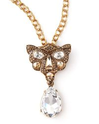 Oscar de la Renta - Metallic Crystal Panther Brooch Pendant Necklace - Lyst