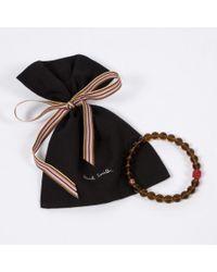 Paul Smith - Men's Brown Beaded Skull Bracelet for Men - Lyst