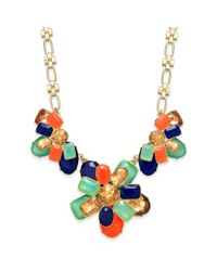 kate spade new york - Metallic New York Goldtone Palace Gem Colorful Stone Frontal Necklace - Lyst
