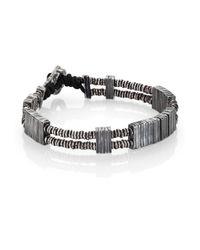 M. Cohen - Black Two-strand Carved Silver Bar  Vinyl Bracelet - Lyst