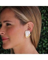 Yvel | Metallic Baroque Freshwater Pearl Earrings | Lyst