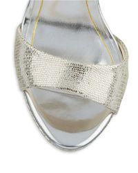 Betsey Johnson | Metallic Tasha Open Toe Platform Stiletto Sandals | Lyst