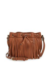 Rebecca Minkoff - Brown 'micro Lexi' Fringe Bucket Bag - Lyst