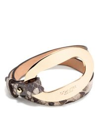 COACH - Metallic Open Lock Python Leather Double Wrap Bracelet - Lyst