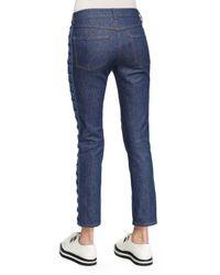 Alexander McQueen - Blue Side-lace Cropped Jeans - Lyst