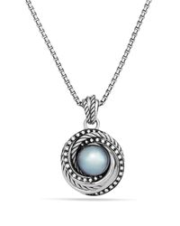 David Yurman | Metallic Pearl Crossover Pendant With Diamonds On Chain | Lyst